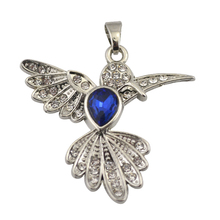 Minimal 50Pcs/Lot Zinc Alloy Rhodium Color Clear&Blue Rhinestone Animal Series Hummingbird Accessories Charm Made In China