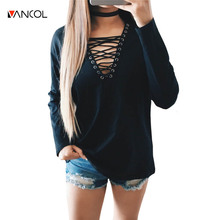 vancol 2017 new arrival casual v neck tee shirt femme spring sexy loose long sleeve shirt women black lace up tshirt women
