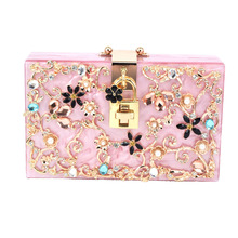 Women Brand Solid Pink Acrylic Box Clutch Mini Hardcase Metal Clutches Evening Shoulder Bag Party Dinner Handbag wallet women