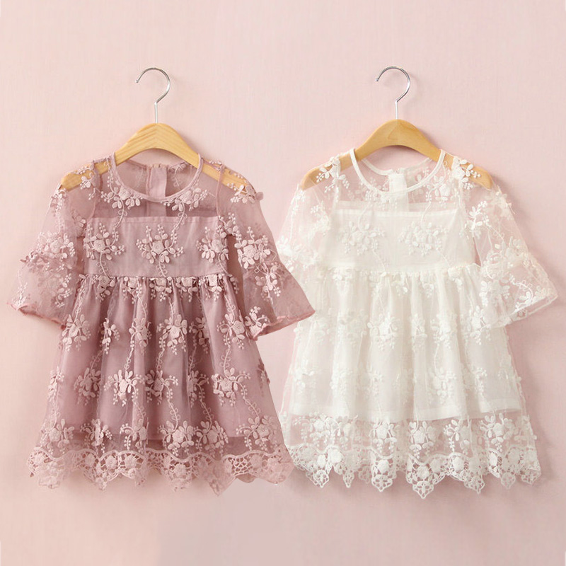 The baby embroidery dress summer 2017 Korean version of the new girls kids children lace dress qz-4181<br><br>Aliexpress