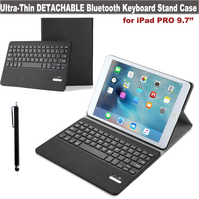 For Apple iPad Pro 9.7 Ultra-Thin Wireless Bluetooth Keyboard PU Leather Case Cover - Detachable ABS Keyboard + Film + Stylus<br><br>Aliexpress