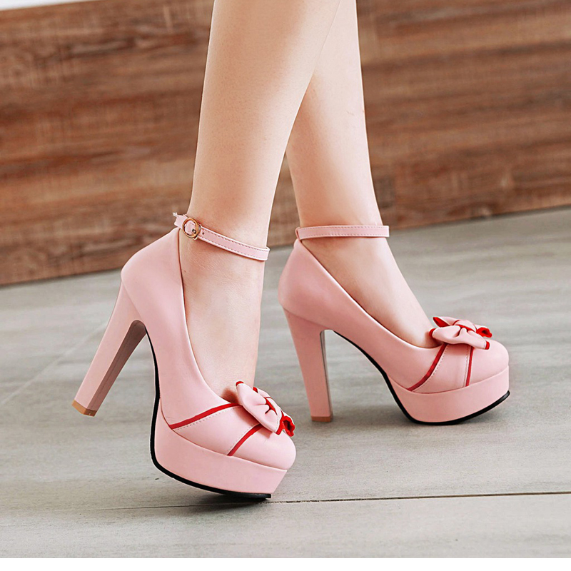 New 2018 Women's Pumps, Platform High Heels, Ankle Strap, Bow-knot 17