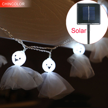 2.5m 10leds Holiday lights Solar Dolls Led Light string Multicolor Xmas christmas Halloween Fairy wine Bar Party decoration CF(China)