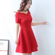 Buy Korean Summer Dress Women Clothing Short Sleeve Casual Dress Solid Spaghetti Strap Slash Neck Hollow Dress Black Vestidos for $11.61 in AliExpress store