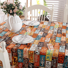 Cotton thick canvas table cloth retro American license plate number personality party table cloth(China)