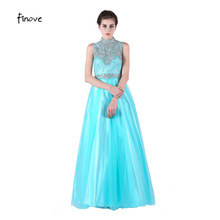 Long Prom Dresses 2017 New Arrival Mint green A-line With High-Neck Beading Graduation Dresses Fast Shipment Vestido De Festa(China)