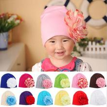 1 Piece Winter Autumn Crochet Baby Hat Girls Cap Beanie Flower Infant Cotton knitted toddlers New Children 13 colors Floral(China)