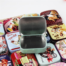European Vintage Style Tin Box Delicate Mac Makeup Cosmetic Lipstick Box 16 Piece/Lot Mini Contanier For Sundries Small Things