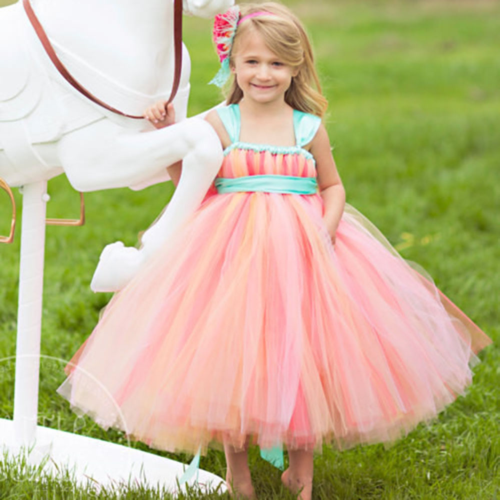 Pageant Dresses for little girls Corals Peach Mint Green Sash Gorgeous Flower Girl Dress For Wedding Birthday Party<br>