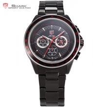 Bramble Shark Sport Watch Stainless Steel Case Black Red 24 Hours 3D Logo Male Clock Stopwatch Men Quartz Sports Watches /SH241(China)