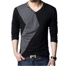 Big size cotton t shirt Spring/autumn fashion mens T-shirt homme men's long sleeved V-neck patchwork color casual T-shirts(China)