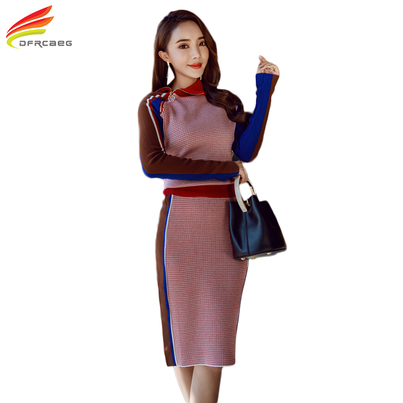 A-line Dress Girl Women Long Sleeve Knitted Dress Thickness Warm Womens Dress Turtleneck Sweater Dress Plaid Two Piece SetÎäåæäà è àêñåññóàðû<br><br>