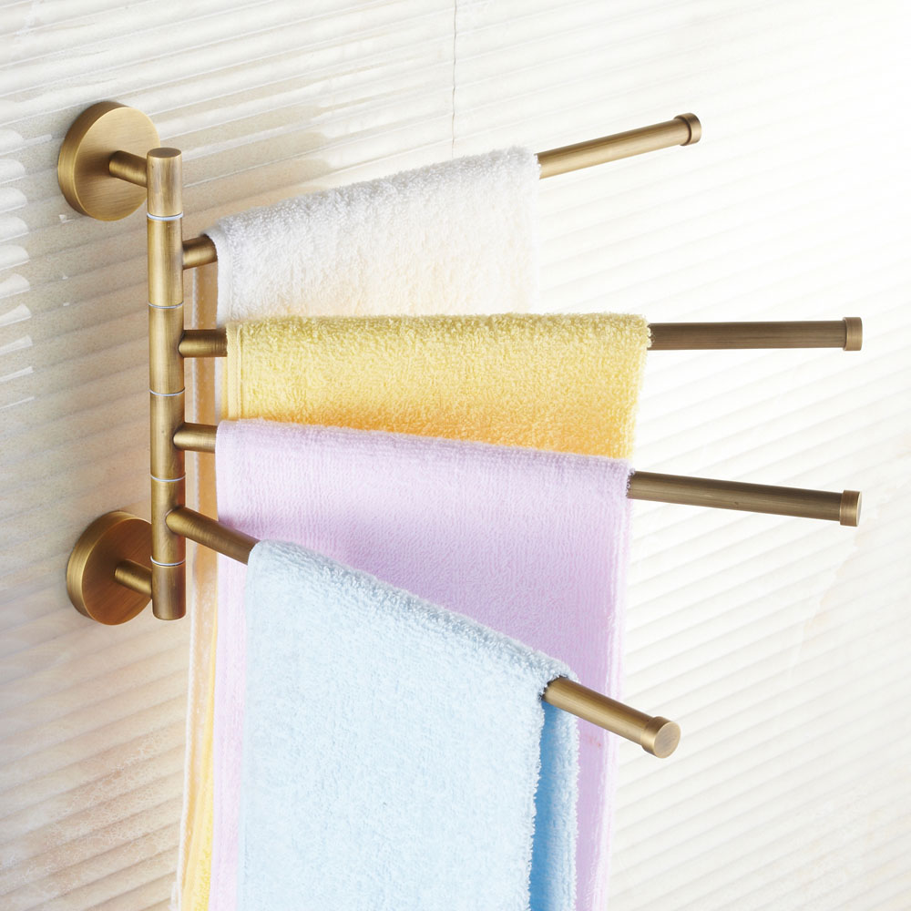 Solid Brass European Antique Movable Towel Rack Bathroom Rotary Rods Double Bar Retro Towel Hanging Racks Wall Mount 4 Rods Set <br>