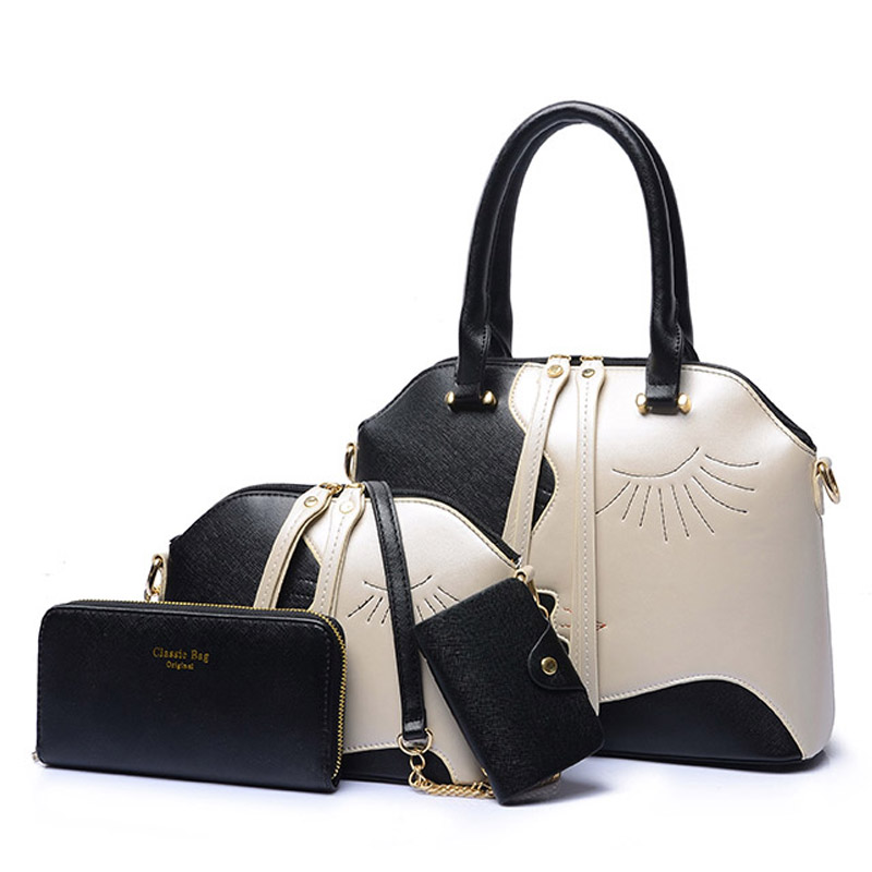 4Pcs/lot Fashion Unique Design Womens Composite Bag High Quality PU Leather Handbags Casual Tote Shoulder Bag Messenger Bags<br>