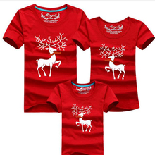 Christmas Family Look Family Matching Outfits T-shirt Color Milu Deer Matching Family Clothes Mother Father Baby Short Sleeve(China)
