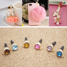 DIY Dust Plug with Hole Mobile Phone Accessories Colorful Crystal Anti Dust Plug Cap Covers 3.5mm universal Earphone Jack Plug