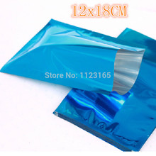 12x18cm, 200pcs x Open top Blue Aluminum Foil Mylar Bags, Metallic plating foil Pouch Heat seal Food Storage Package smell proof