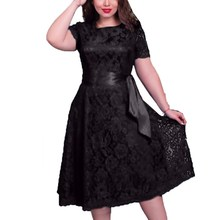 New European Style Women Sexy Elegant Dress Fit Flare Empire Mid-calf Lace Sashes Party Dresses(China)