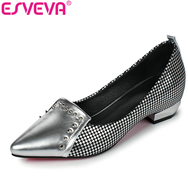 ESVEVA 2017 Women Pumps Pointed Toe Spring Autumn Shoes Square Med  Heel OL Shoes Rivets Sliver Wedding Woman Shoes Size 34-39<br><br>Aliexpress