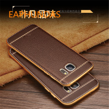 TPU Soft Plating edge Leather Back Cover For Samsung Galaxy A3  A5 A520 A7 A720 2017 J3 J5 J7 2016 Grand Prime G530 S6 S7 Edge