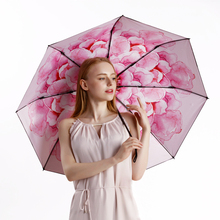 Fashion Women Umbrella Anti UV Black Coating Flower Printing 8K Windproof Brand Folding Umbrella Manual Three Fold Parasol