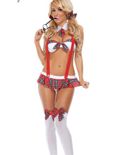 2017 Womens School Girl Costume Sexy Lingerie Uniform Halloween Cosplay Fancy Dress