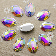 50pcs 16*23mm Crystal AB Sewing on rhinestone FlatBack Rhinestone OVal Sew On Stone  Resin Crystal For Jewelry Making And Strass
