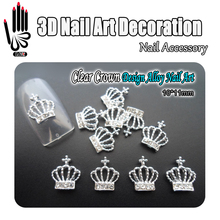 Nail Art 10pcs/Lot 3D Nail Art Glitter Clear Rhinestone Alloy Crown Design Nail Art Products Decorations Accessory(China)