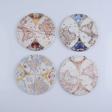 LINKWELL Set of 4 10x10cm Antique Accent Vintage Old World Map Round Bar Coaster Table Cup Holder Drink Placemat Mat Tabletop(China)