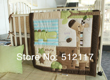 hot sell 2014 Cotton Bedding AppliqueLovely Cartoon Giraffee Worm GreenCrib3 items Including Comforter Bumper Fitted Sheet(China)