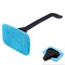 Microfiber Auto Window Cleaner Long Handle Car Washer Brush Car Windshield Glass Wiper Cloth Clean Tools Washable Handy Rags(China)