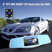 "Full HD 1080P 5"" TFT LCD Screen Dash Cam Dual Lens Backup Rearview Mirror Car Camera DVR Digital Video Recorder Night Vision"