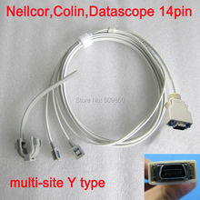 Compatible Nellcor N190 Colin BP88 508 datascope14pin spo2 sensor reusable long cable multi site y model spo2 sensor pulse probe