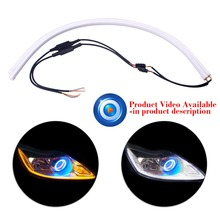 2 x 60cm Car-Styling Angel Eye Daytime Running Light Universal Tube Guide Soft & Flexible Car LED Strip DRL White & Yellow(China)