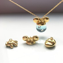 10pcs /lot Cat ears rabbit ears hat beads caps pendant buckle can be used with 12-18mm Pendant three-dimensional ball DIY jewelr(China)