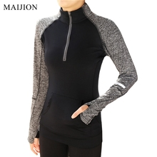 MAIJION 2017 New Zipper Yoga Shirts , Women Elastic Long Sleeve Sport Tops, Fitness Running Shirts Tops Breathable Tracksuit