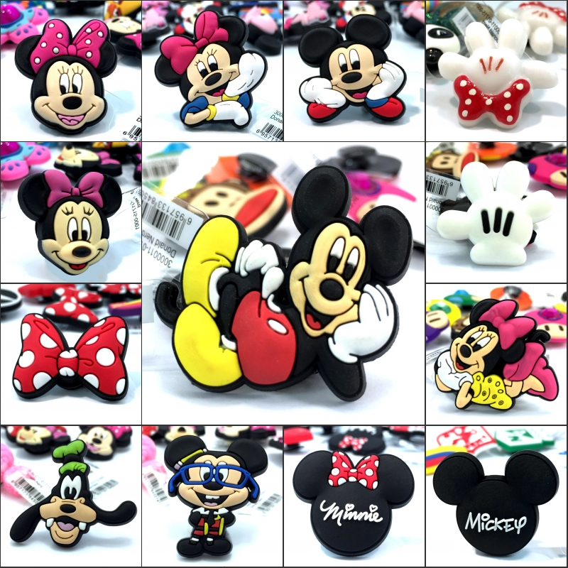 New Arrival 1pcs Mickey Minnie High Imitation Shoe Charms,Shoe Buckles Accessories Fit for Croc JIBZ kids gifts(China)