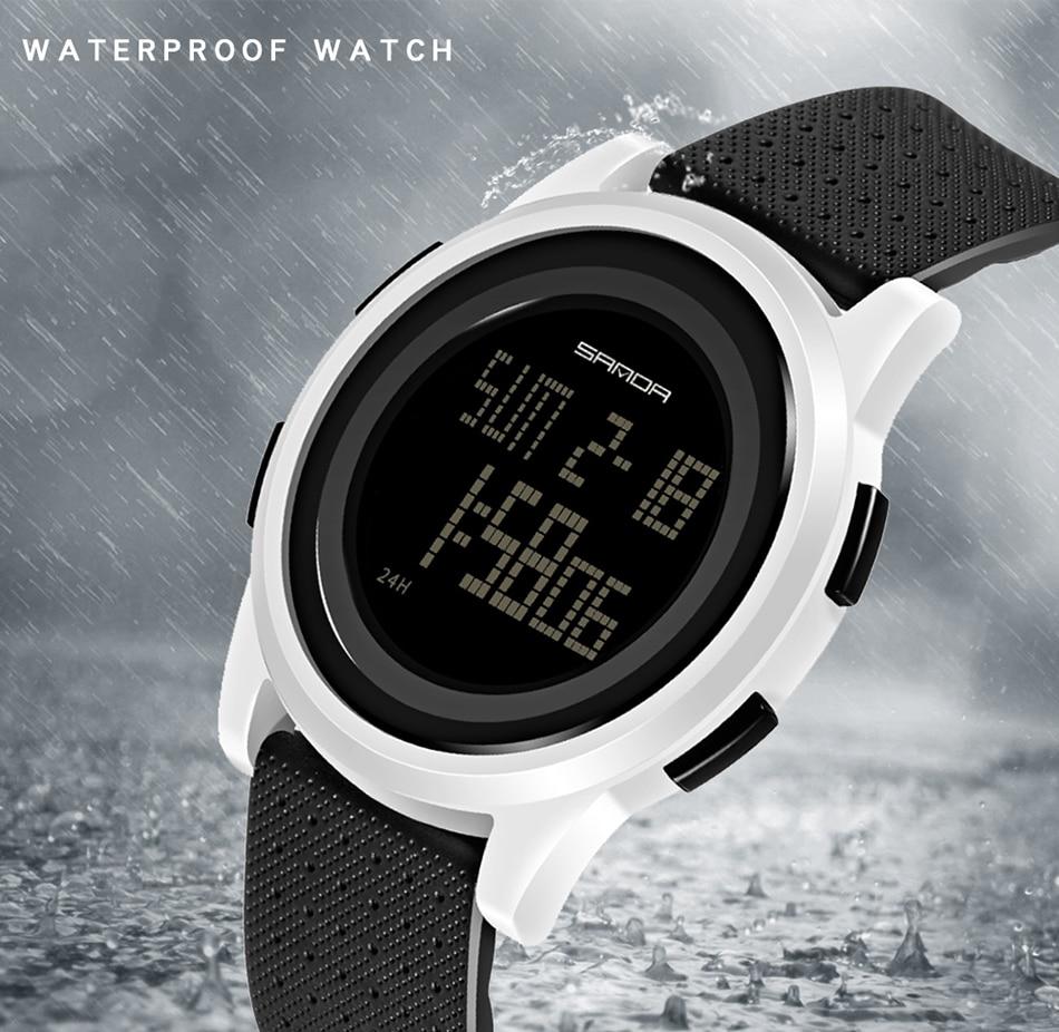 SANDA Fashion Women Sports Watches Waterproof 30m Ladies Ultra Thin LED Digital Watch Swimming Diving Hand Clock Montre Femme 13