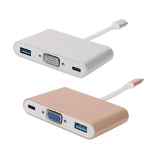 USB 3.1 Type C to VGA Monitor + USB 3.0 + Type-c Charger Adapter for Macbook