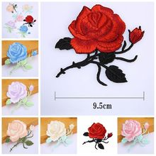 Rose Flower Leaves Embroidery Iron On Applique Patch Sew On Patch Craft Sewing Repair Embroidered(China)