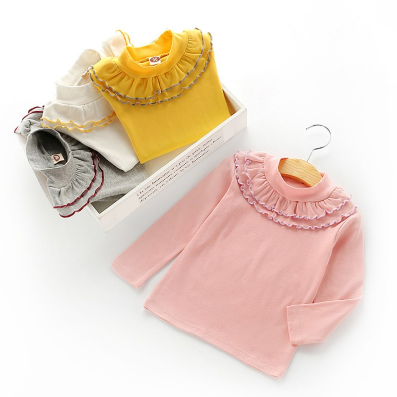 Pullover Flower Collar Kids Girls Clothes Print Long Sleeve Cotton Outfits Shirt
