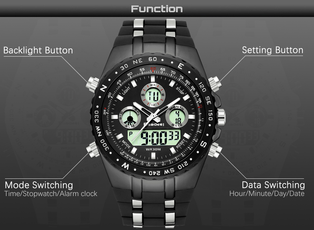 Readeel Top Brand Sport Quartz Wrist Watch Men Military Waterproof Watches LED Digital Watches Men Quartz Wristwatch Clock Male 8