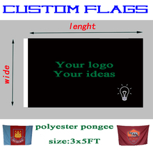 Design and customize polyester fan flags, any size sport banners(3X5FT 4X6FT 5X8FT),custom football team banner without flagpole(China)