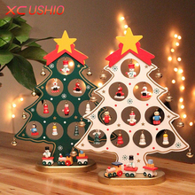 1PC DIY Cartoon Wooden Christmas Tree Decoration Christmas Gift Ornament Table Desk Decoration Fast Shipping