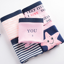 Buy 5Pcs/set Women's Panties Briefs Low Waist Cute Printed Striped Underwear Young Girls Boyshorts Lovely Design Lady Underpants 0