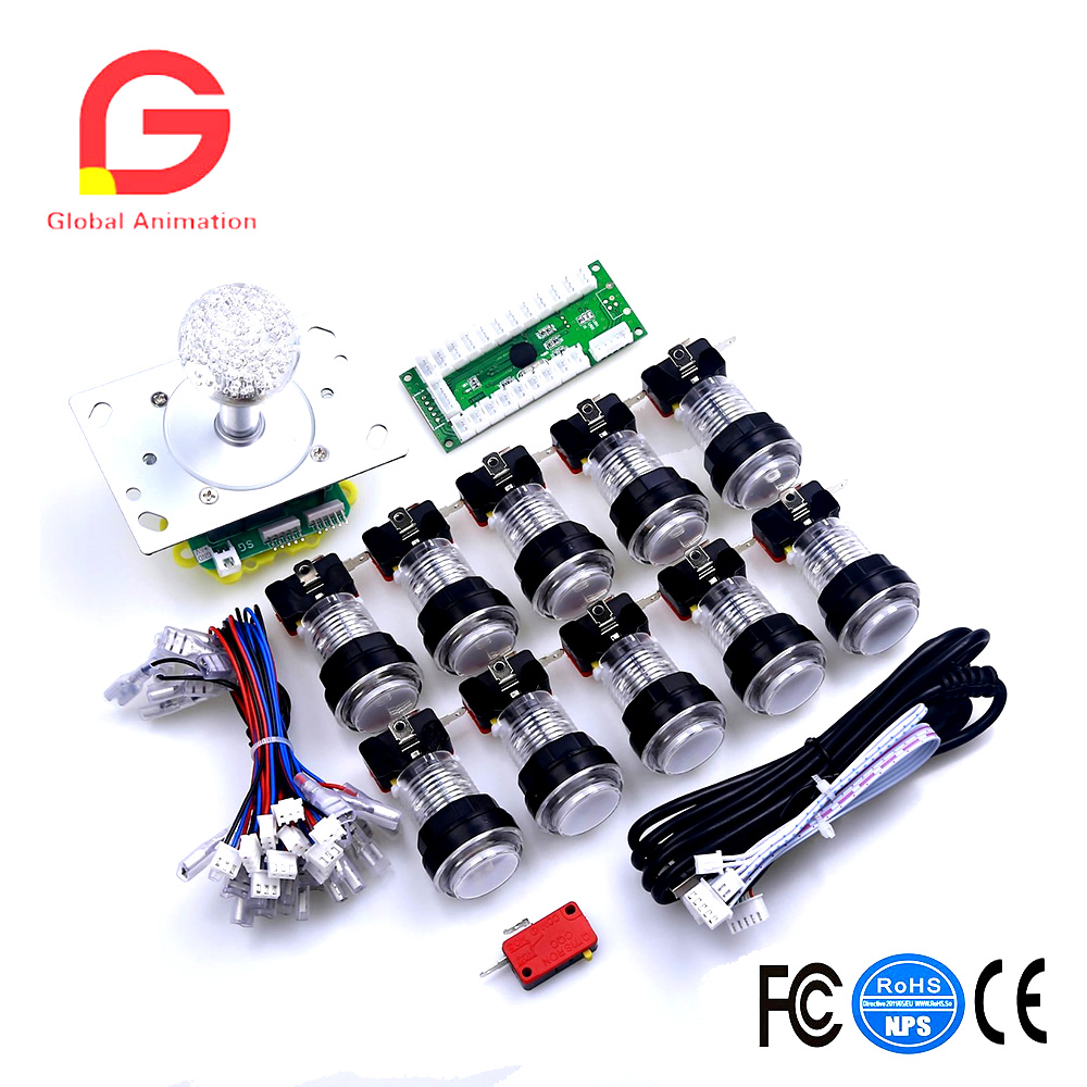 DIY White Ball Top Handle Arcade Set Kits 2/4/8 Way Classic LED Joystick 10 x Light Push Buttons USB Cable Encoder Board <br>