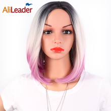 AliLeader Kanekalon Heat Resistant Synthetic Wig 14 Inch Short Silky Straight Bob Wigs For Women African American Hair Products(China)