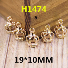 Free Shipping Newest 100PCS 3D Gold Alloy Royal King Crown Charms for DIY Jewelry Necklace Bracelet Bag Keyring Phone Chain