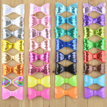 40pcs/lot 32 Color U Pick 3.15 Inch Glitter Sequin Bows Appliques Without Clips DIY Sewing Craft Boutique Hair Accessories HDJ26(China)