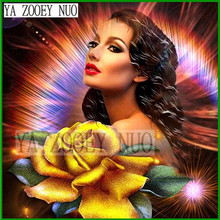 YA ZOOEY NUO DIY Diamond Painting Cross Stitch Diamond Embroidery Wedding Decor Drill Girl and yellow rose Gift KL842
